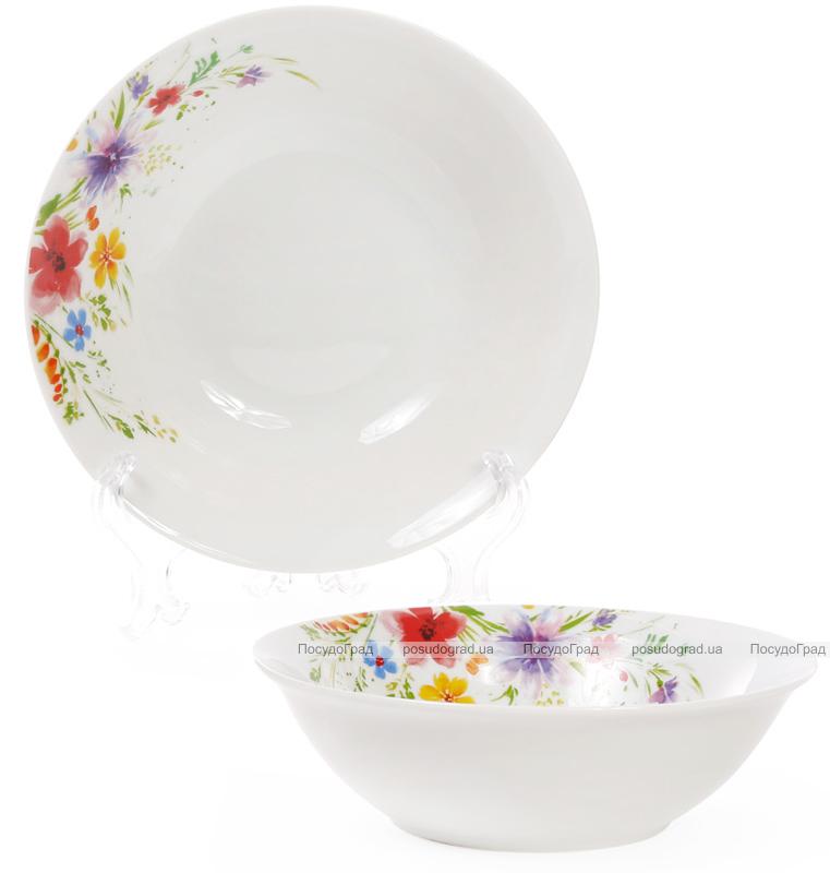 """Набір 6 порцелянових салатниць """"Квіти аквареллю"""" 650мл Ø17см"""