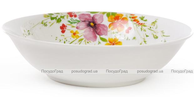 """Салатник фарфоровый """"Цветы акварелью"""" 1200мл Ø23см"""