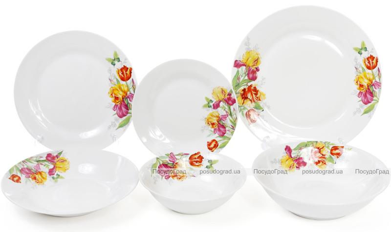 """Набор 6 фарфоровых салатниц """"Огненные ирисы"""" 650мл Ø17см"""