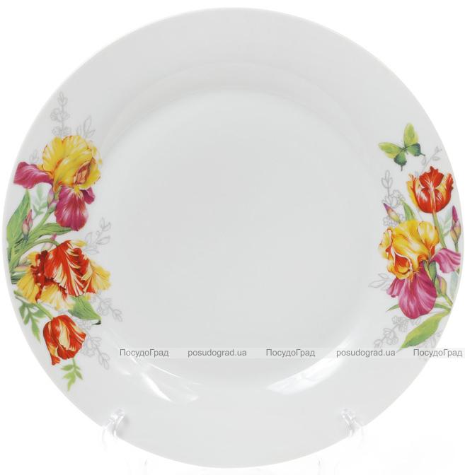 """Набор 6 фарфоровых обеденных тарелок """"Огненные ирисы"""" Ø27см"""