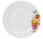 """Набор 6 фарфоровых обеденных тарелок """"Огненные ирисы"""" Ø23см"""