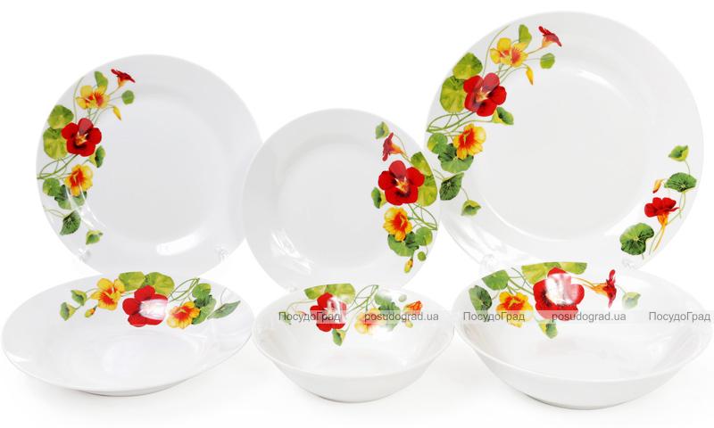 """Набор 6 фарфоровых десертных тарелок """"Настурция"""" Ø19см"""