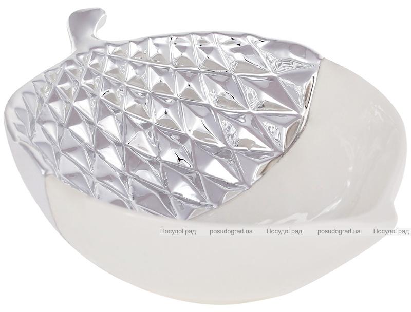 """Набір 2 декоративних блюда """"Жолудь"""" 15.4х11.5х5см кераміка, білий зі сріблом"""