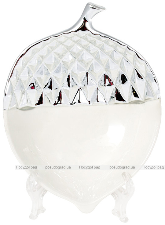 """Набор 2 декоративных блюда """"Желудь"""" 15.4х11.5х5см керамика, белый с серебром"""