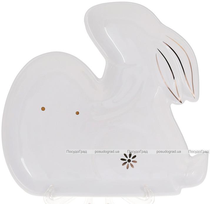"Набор 4 тарелки ""Кролик с яйцом"" 23.8х22.3х2.6см керамика, белые"