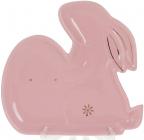 """Набір 4 тарілки """"Кролик з яйцем"""" 23.8х22.3х2.6см кераміка, рожеві"""