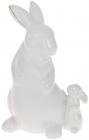 """Статуетка декоративна """"Кролик і Кроленя"""" 13.1х9.7х19см, кераміка, біла"""