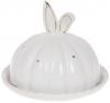 """Блюдо """"Заячі вушка"""" 18.7х18.7х15.3см з ковпаком, керамічне біле"""