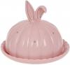 """Блюдо """"Заячі вушка"""" 18.7х18.7х15.3см з ковпаком, керамічне рожеве"""
