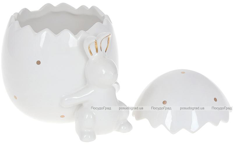"""Банка для продуктів """"Кролик з яйцем"""" 860мл кераміка, біла"""