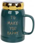 """Кружка порцелянова """"To make you happy"""" 550мл з кришкою, смарагдовий колір"""
