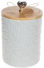 """Банку Merceyl """"Алмаз"""" 1.1л керамічна з бамбуковою кришкою, сіра"""
