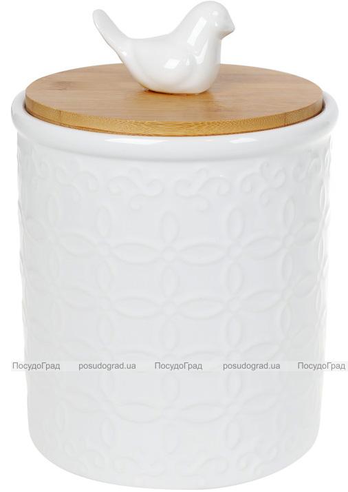 """Банка Merceyl """"Голубка"""" 1.1л керамическая с бамбуковой крышкой, белая"""