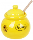 Медовница «Пчёлка» 450мл керамическая с деревянной ложкой-булавой