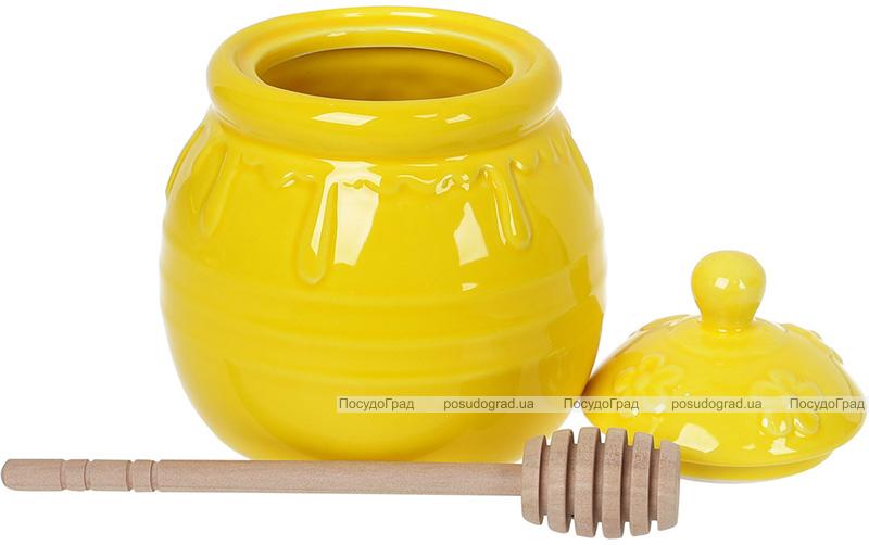 Медовница «Сластена» 500мл керамическая с деревянной ложкой-булавой