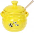 Медовница «Sweet Honey» 450мл керамическая с деревянной ложкой-булавой