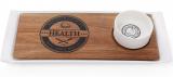 Блюдо фарфоровое Naturel 35х14см с соусником 125мл и деревянной доской