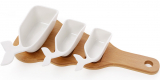 Набор 3 соусника Ceram-Bamboo 50/75/150мл на деревянной доске 32х15см