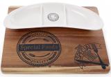 Доска деревянная Naturel 34х29см с фарфоровой менажницей на 3 секции
