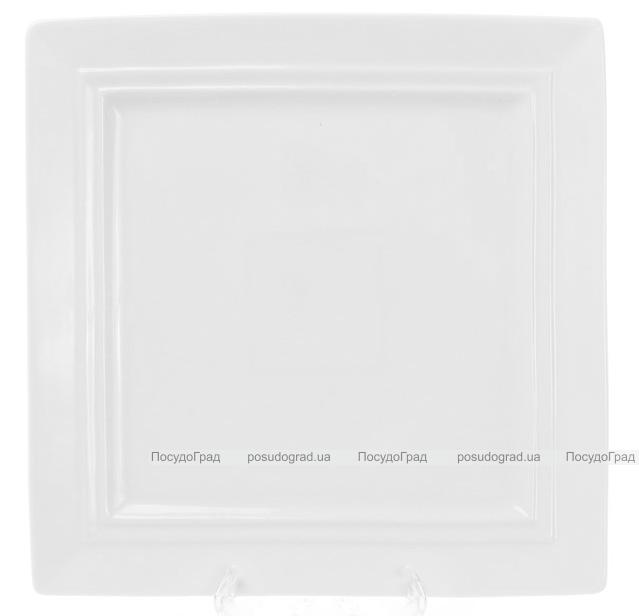 """Набор 4 квадратные тарелки """"White City"""" 25х25см, обеденные (белый фарфор)"""