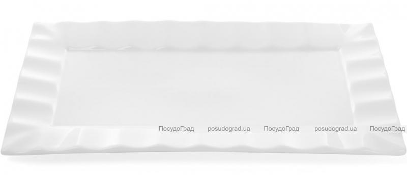 """Набор 4 прямоугольные тарелки """"White City"""" 30х17см для суши (белый фарфор)"""