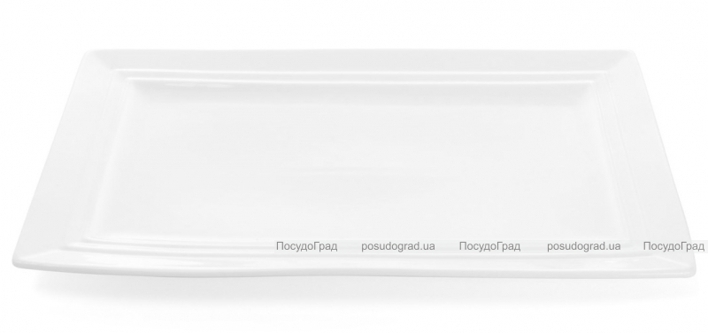 """Набор 4 прямоугольные тарелки """"White City"""" 30х17см (белый фарфор)"""