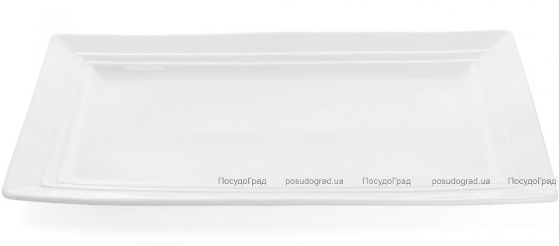 """Набор 2 прямоугольные тарелки """"White City"""" 36х21см (белый фарфор)"""