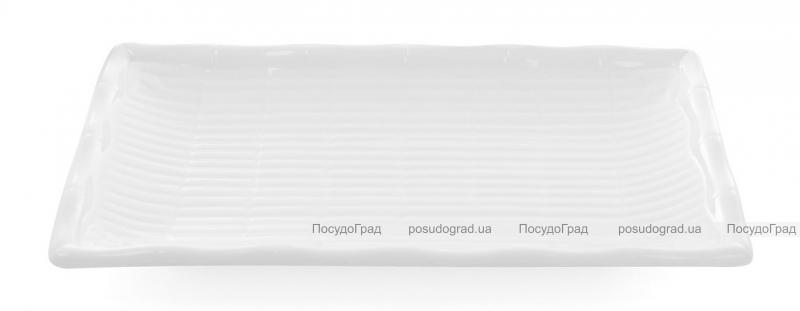 "Набор 6 прямоугольных тарелок ""White City Бамбук"" 20х13см для суши (белый фарфор)"