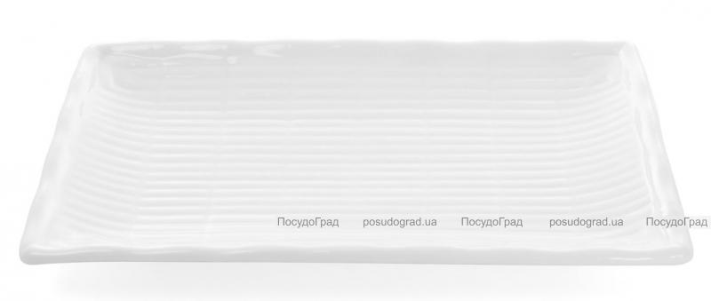 """Набор 4 прямоугольные тарелки """"White City Бамбук"""" 25х15см для суши (белый фарфор)"""