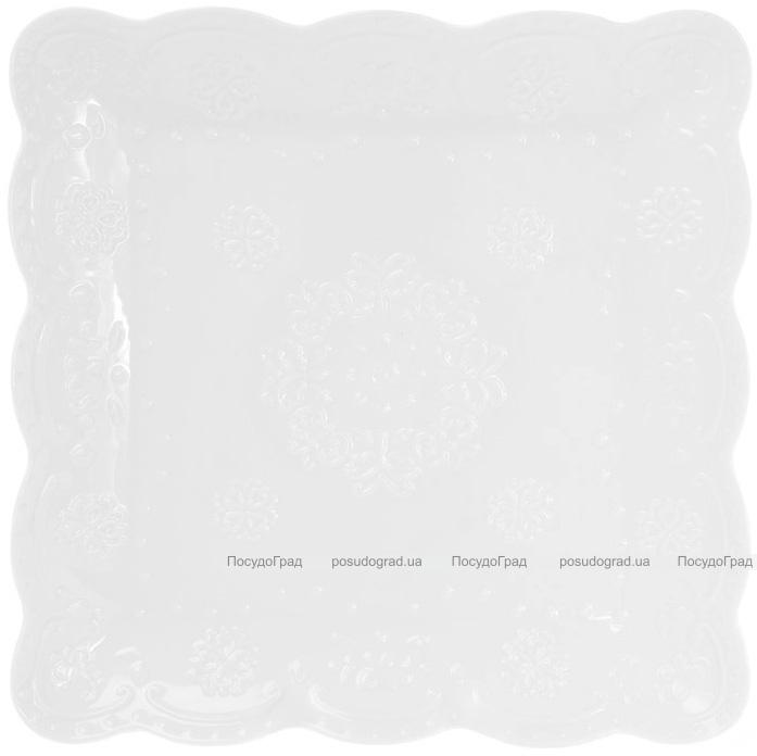 "Набор 5 фарфоровых блюд ""White City Кружево"" 20х20см (белый фарфор)"
