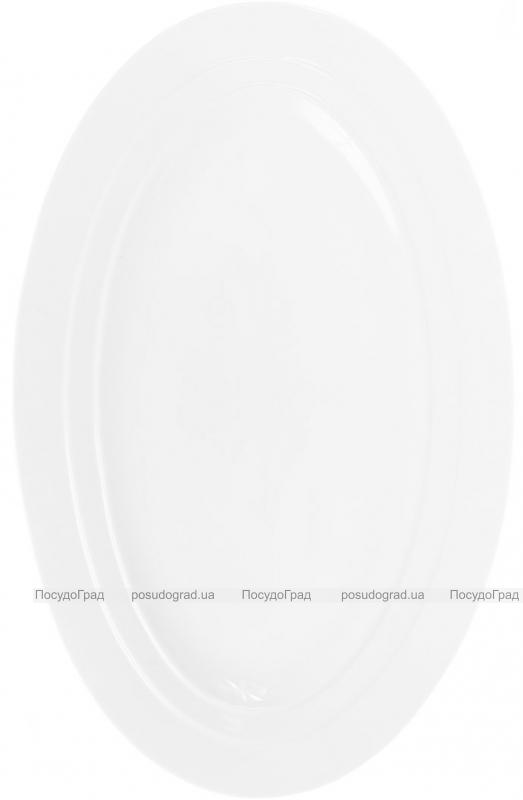 """Блюдо фарфоровое """"White City"""" овальное 40х26см (белый фарфор)"""