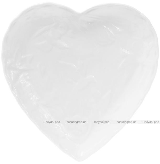 """Набір 6 фарфорових блюд """"White City Серце"""" 20см (білий фарфор)"""