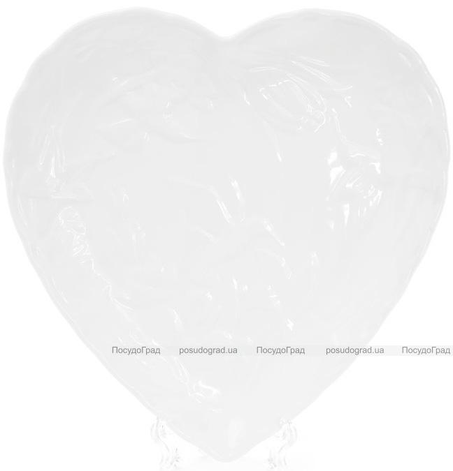 "Набор 4 фарфоровых блюда ""White City Сердце"" 23см (белый фарфор)"