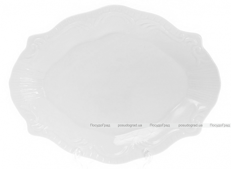 "Набор 6 фарфоровых блюд ""White City Орнамент"" 23х18см (белый фарфор)"