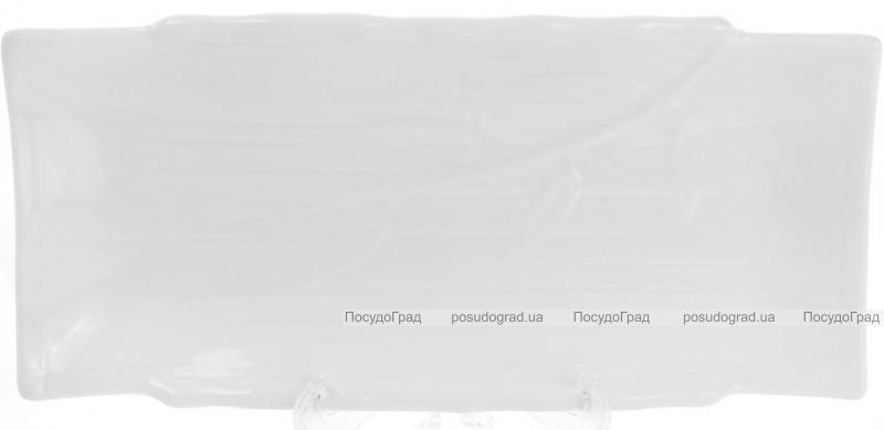 "Набор 6 прямоугольных тарелок ""White City Бамбук"" 25х12см для суши (белый фарфор)"