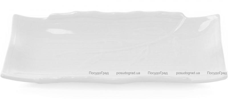 """Набор 4 прямоугольные тарелки """"White City Бамбук"""" 30х18см для суши (белый фарфор)"""