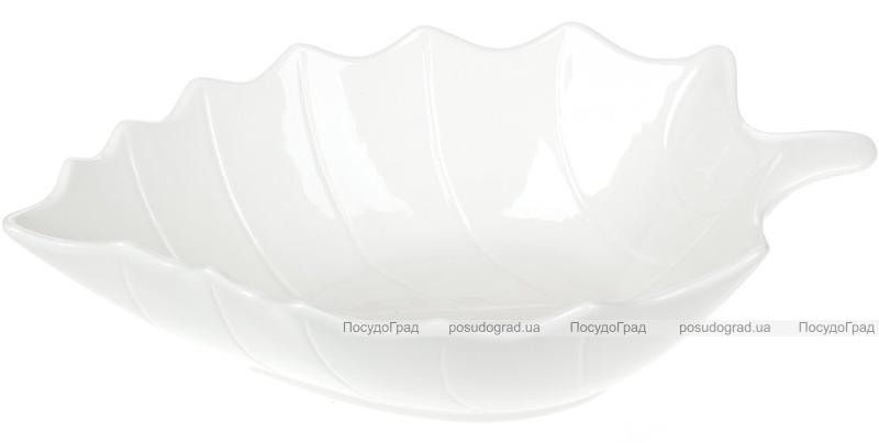 "Набор 5 фарфоровых салатников ""White City Лист"" 1900мл, белый фарфор"