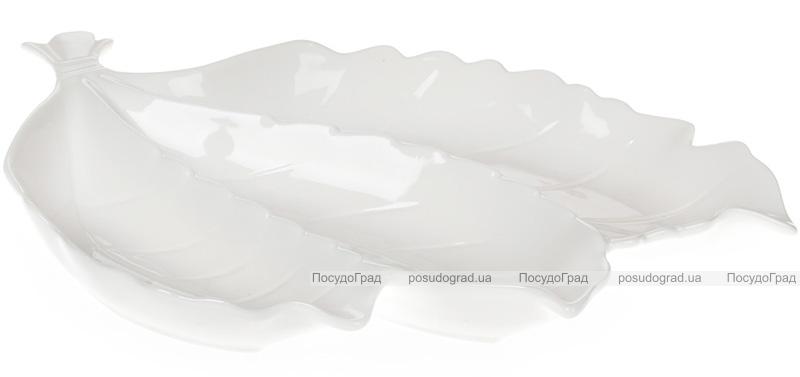"Менажница 3-х секционная ""White City Осенний букет"" 30.5см, белый фарфор"