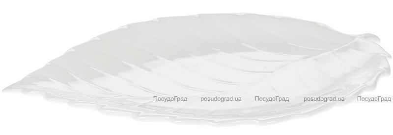"""Набор 6 фарфоровых блюд """"White City Лист"""" 24.5см, белый фарфор"""