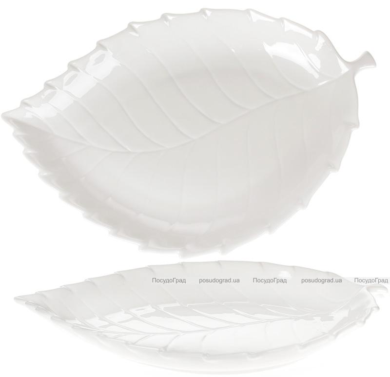 """Набор 6 фарфоровых блюд """"White City Лист"""" 39см, белый фарфор"""
