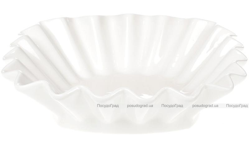 "Набор 6 фарфоровых салатников ""White City Гофре"" 23х23см, белый фарфор"