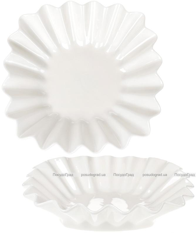 "Набор 4 фарфоровых салатника ""White City Гофре"" 28х28см, белый фарфор"