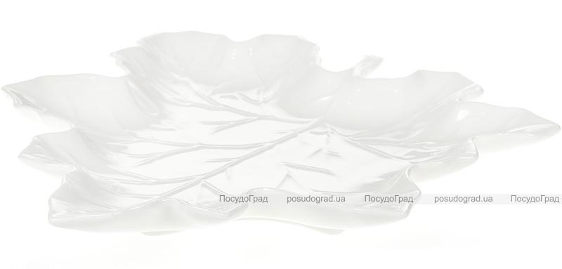 """Набор 6 фарфоровых блюд """"White City Кленовый Лист"""" 23см, белый фарфор"""