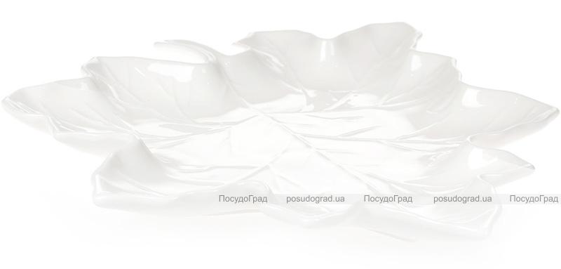 """Набор 6 фарфоровых блюд """"White City Кленовый Лист"""" 28см, белый фарфор"""