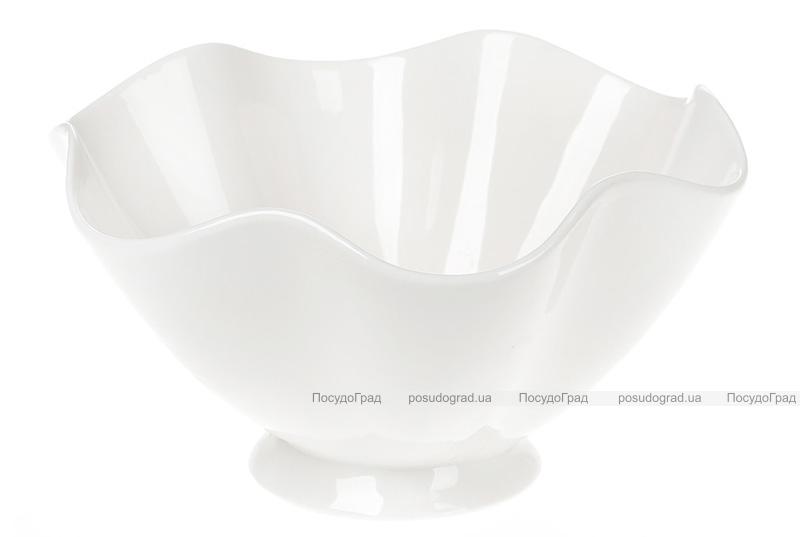 """Набор 6 фарфоровых салатников """"White City Волна"""" 700мл Ø18см, белый фарфор"""