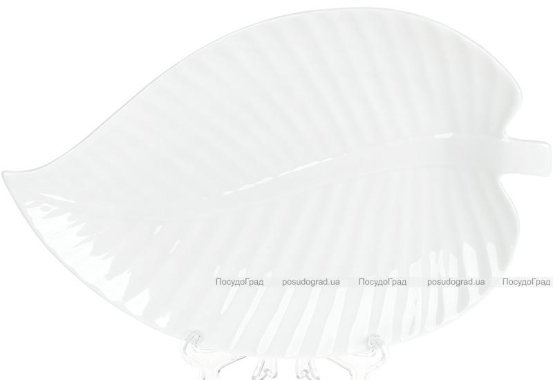"""Набор 8 фарфоровых блюд """"White City Лист"""" 25.5см, белый фарфор"""