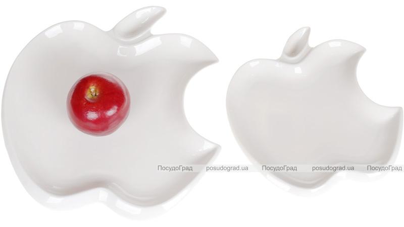 """Блюдо фарфорове """"White City Яблуко"""" 20см, білий фарфор"""