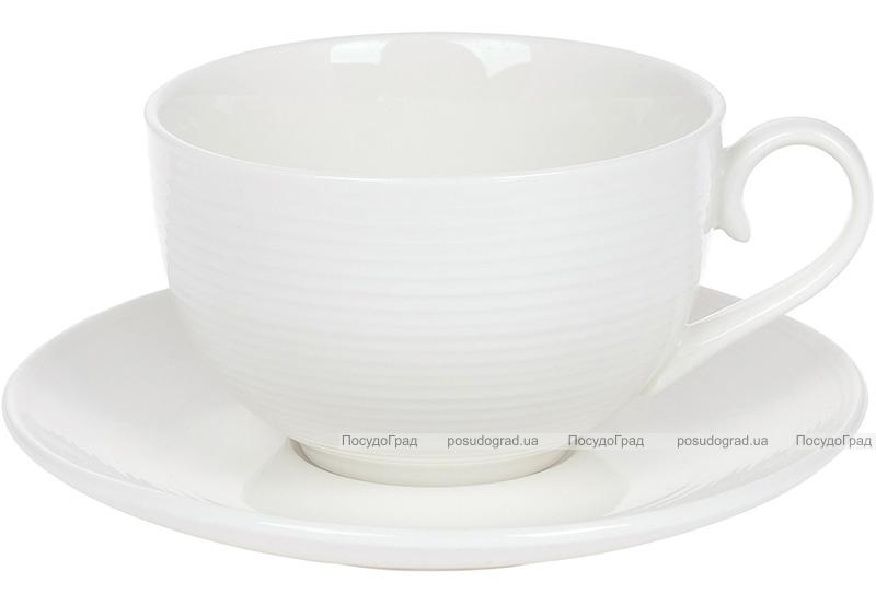 """Чайний набір """"White City Лінії"""" 4 чашки 310мл і 4 блюдця"""