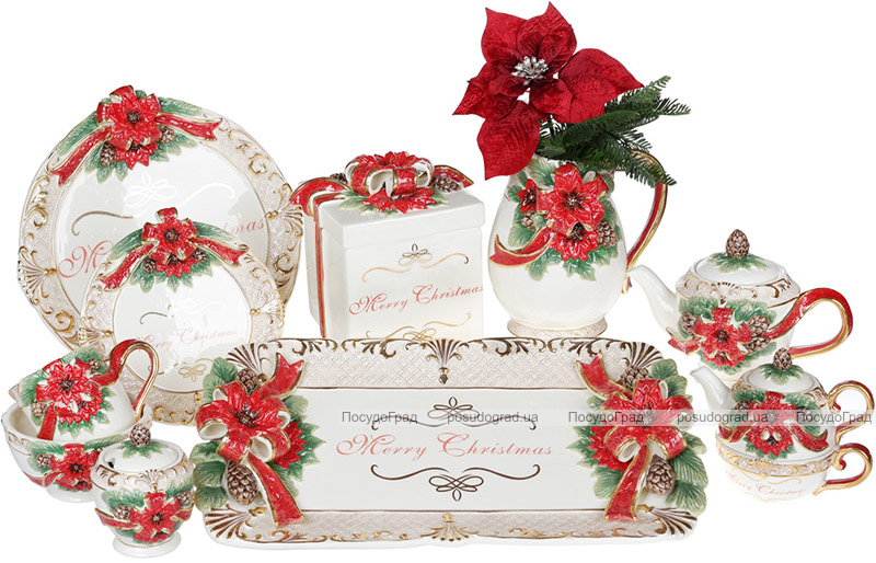 Глечик «Merry Christmas» 2л, кераміка з об'ємним малюнком