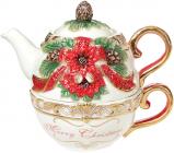 Чайний набір «Merry Christmas» чашка 300мл і чайник 400мл